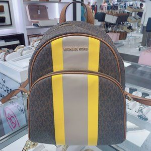 MK ABBEY  MD BACKPACK LEATHER BROWN MULTI